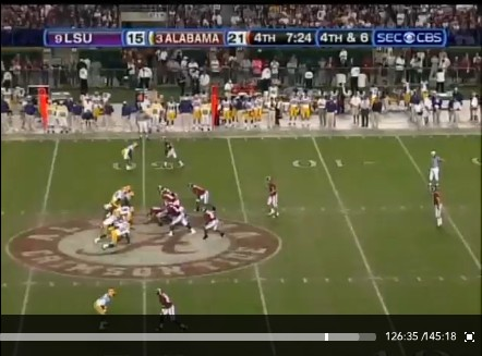 LSU Alabama Punt 2009